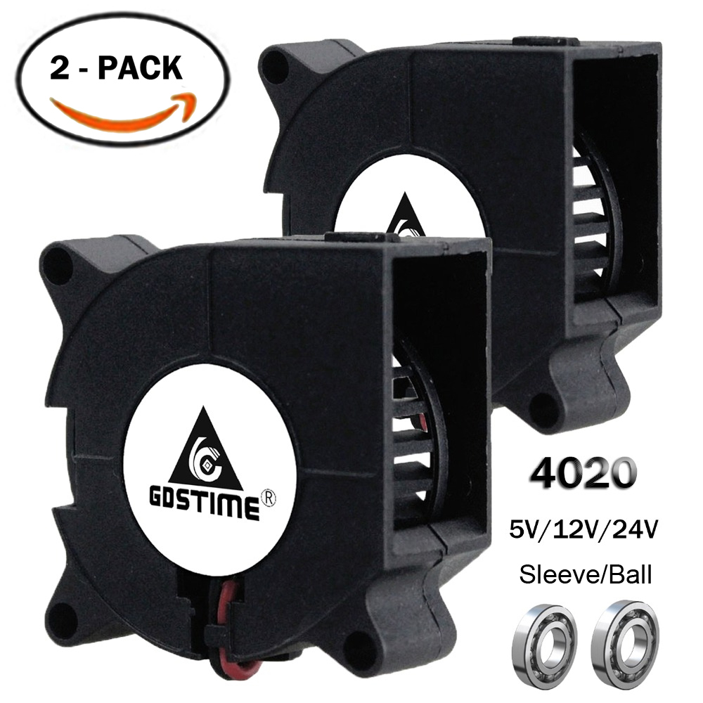 2PCS Gdstime 3D Printer <font><b>Fan</b></font> 40mm 4020 Turbo Blower 24V 12V <font><b>5V</b></font> Ball Bearing Cooling <font><b>Fan</b></font> 40mm x 40mm x <font><b>20mm</b></font> for 3D Printer Parts image