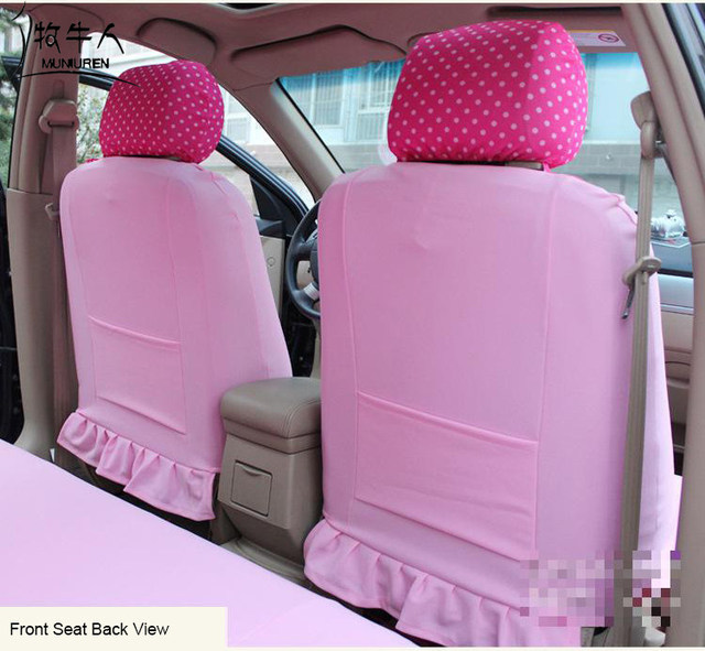 Cute Cartoon Hello Kitty Universal Car Seat Covers Accessories Styling Polka Dot Decoration Protector For Women
