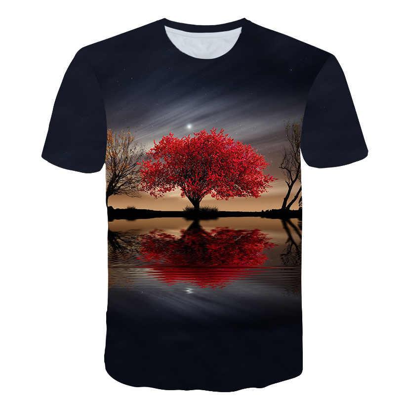 Больше печатных узор landнакидка 3D печатных футболки с пейзажами для мужской одежды короткая летняя повседневная одежда с рукавами