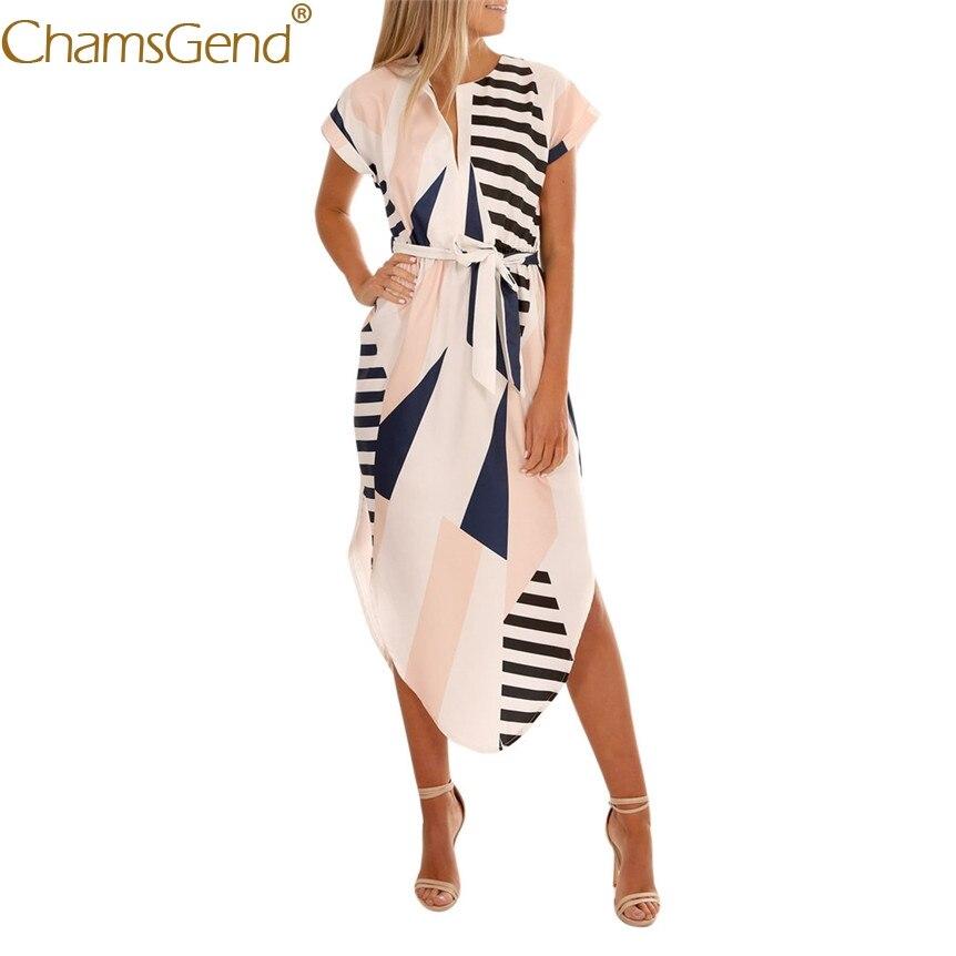 Women Geometric Print Short Sleeve Long Dress OL Fashion Sundress with Belt 80417