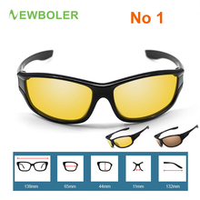 NEWBOLER Men Polarized Fishing Glasses Night Version Outdoor Sport Eyewear Driving Cycling Glasses Yellow Color Lenses