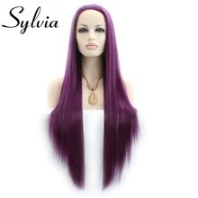 Sylvia Long Silky Straight Wigs Purple Synthetic Lace Front Wig For Women Heat Resistant Fiber Long Hair Wig