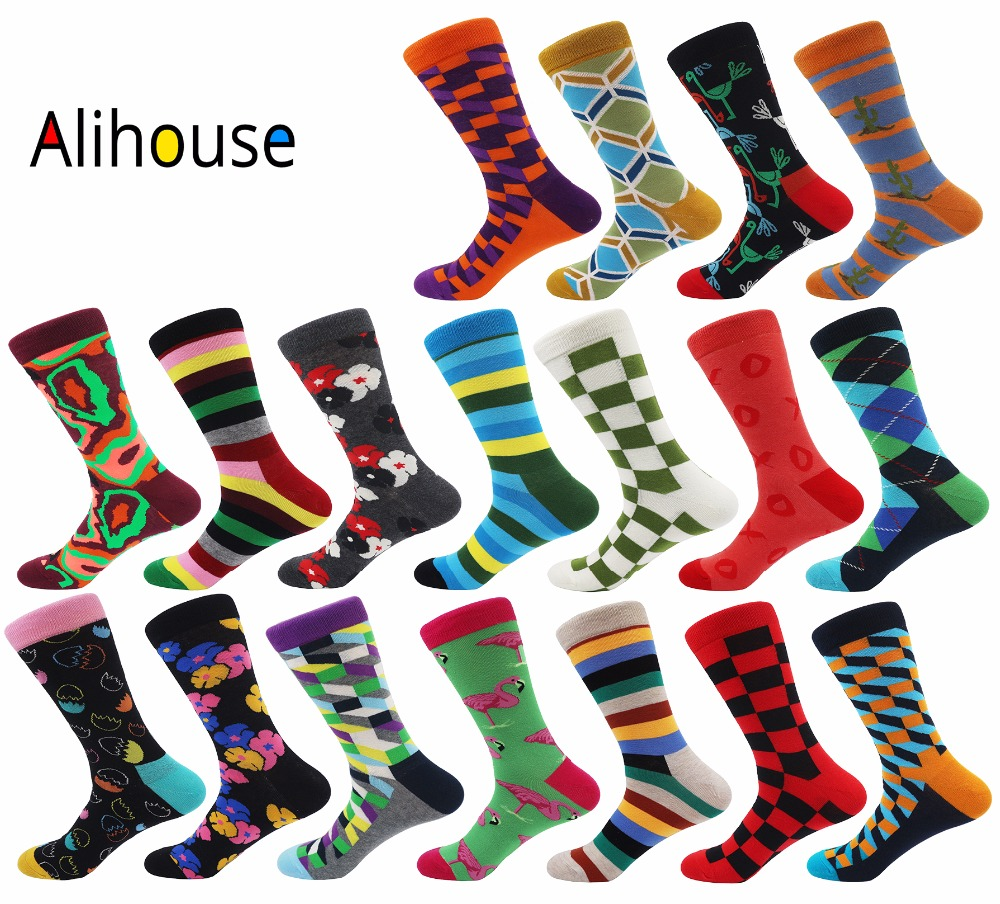 Alihouse Men Socks Happy Socks Funny Colourful Unisex Combed Cotton Breathable Causal Dress Wedding Crew Socks Men Harajuku