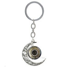Vintage Camera Lens art pture glass cabochon moon pendant keychain personalized CL02 cool photographer key chains gifts T138(China)