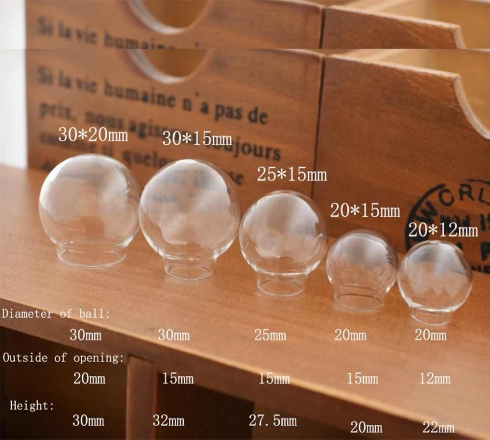 1 ピース 15-30 ミリメートル中空ガラスボールラウンドバブルガラスドームホールdiyオーブジュエリー所見ガラスロケット異なるサイズ