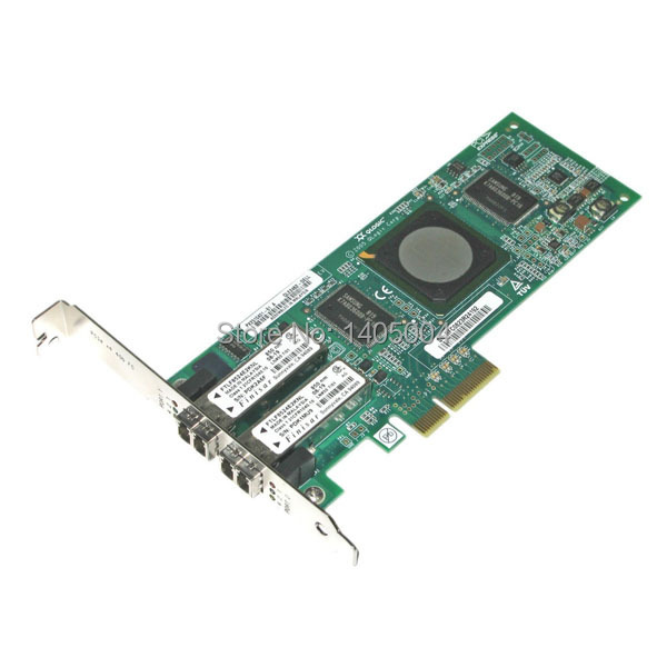 ФОТО Fee Shipping QLE2462 4Gbps dual-port Fibre Channel-to-x4 PCI Express adapter, New original, Retail box, 1 year warranty
