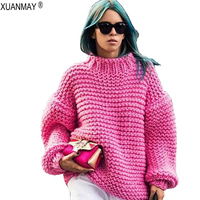 Spring new Hand Sweater leisure Women's clothing heavy Pullover sweater Chunky cozy warm Oversized woolen 5XL code Sweater