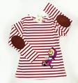 Cartoon Masha And Bear Girls T-shirts Long Sleeve Striped T shirt For Girls Spring Clothing