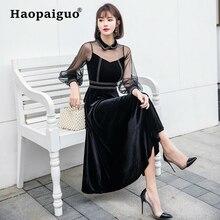 Spring Black Formal Party Dress Women Mesh Patchwork Velvet Big Swing Corset Korean Vestidos Mujer 2019