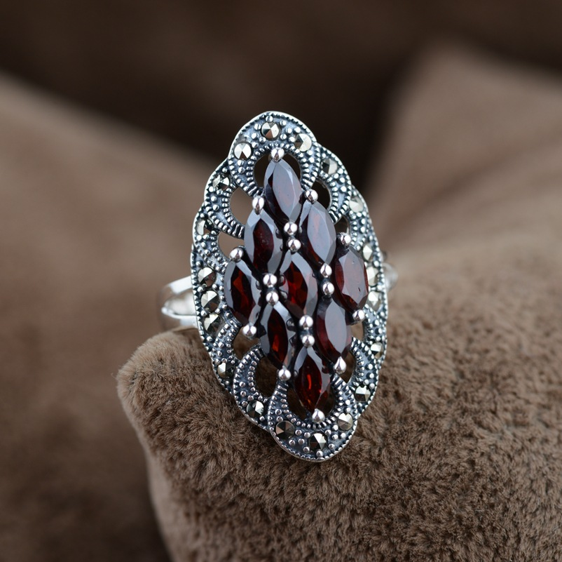 925 Sterling Silver Jewelry Nature Stone Ring Garnet Indian Vintage Style For Women Anillos De Plata