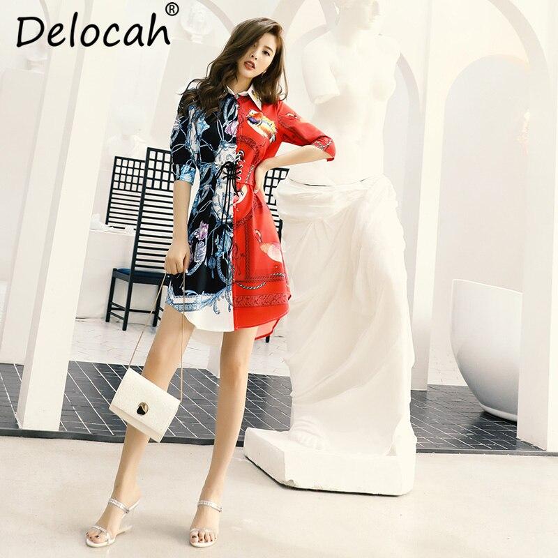 Delocah New 2019 Women Spring Summer Dress Runway Fashion Designer Half Sleeve Gorgeous Beading Sashes Casual