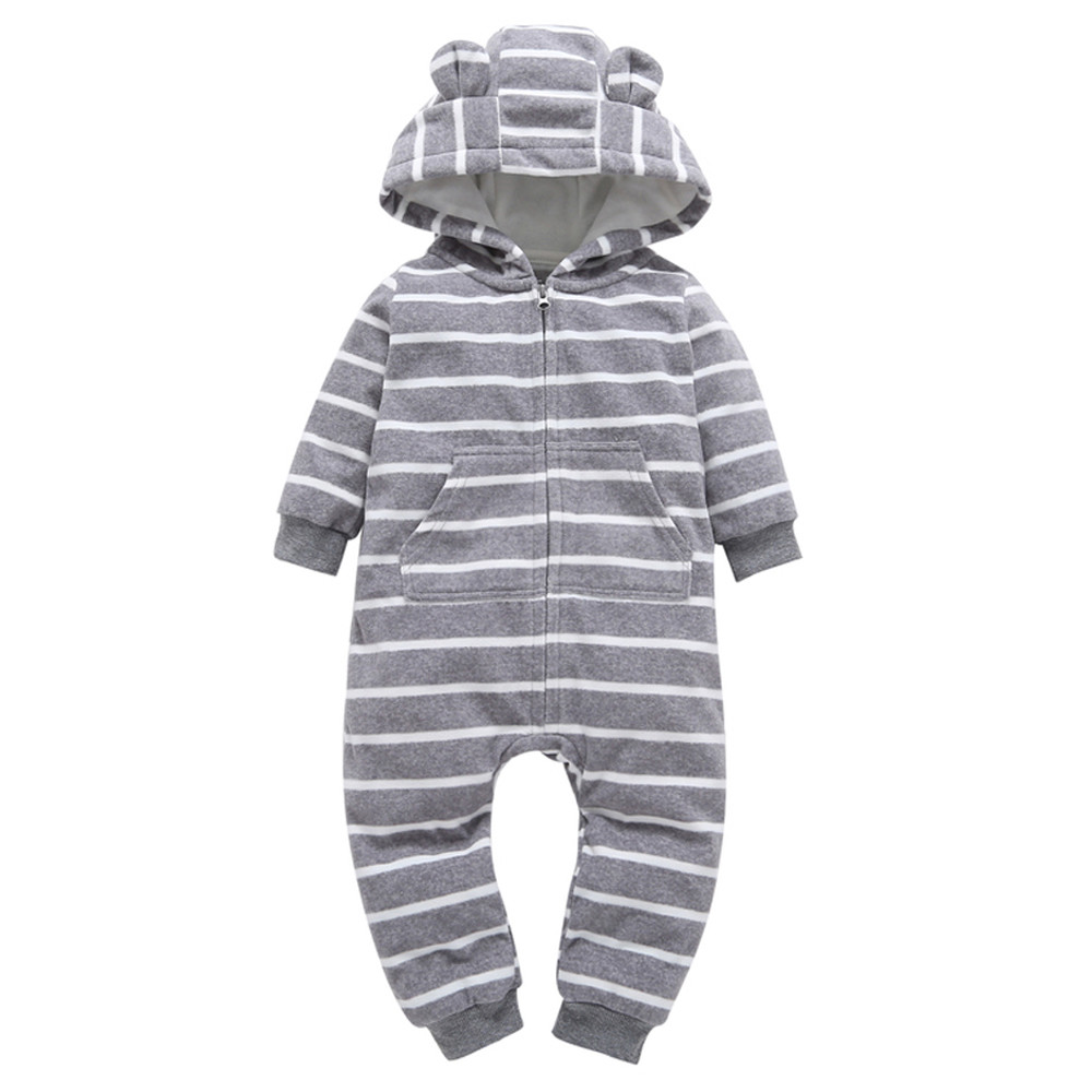 Infant Baby Boy Girl Thicker Stripe Hooded Romper Jumpsuit Outfit Home Clothes Oct 5