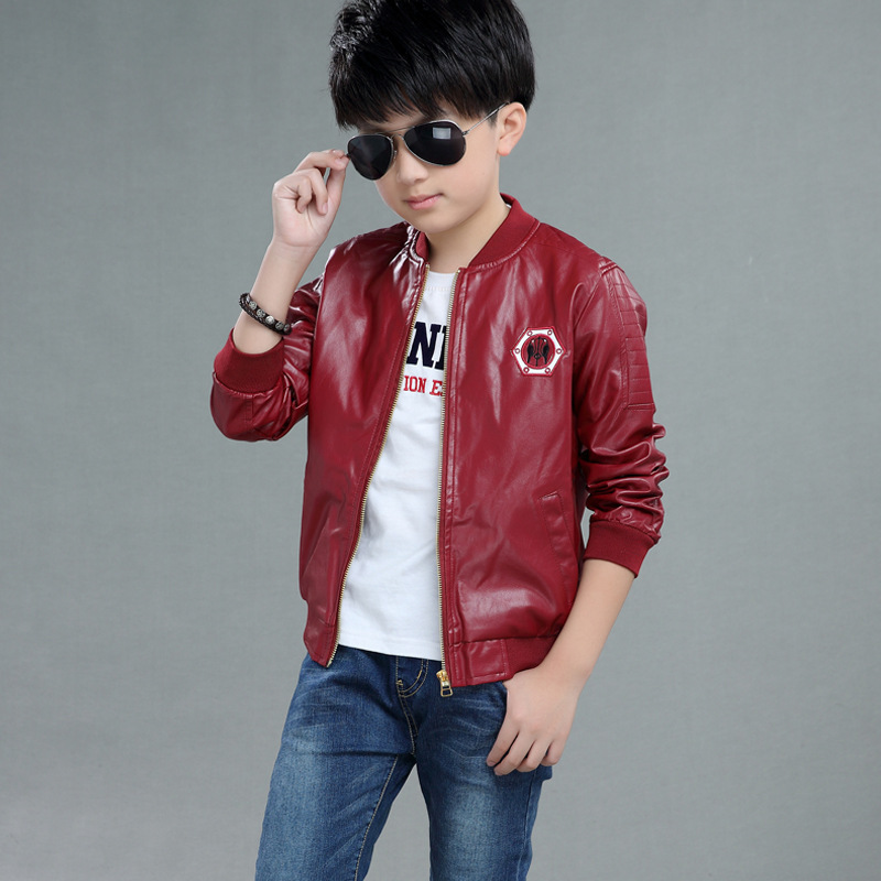 Autumn Winter Girl Clothing Kids Coat Boys Leather Jackets Children Hooded Quality PU Leather Outerwear Short Suede Jackets B380