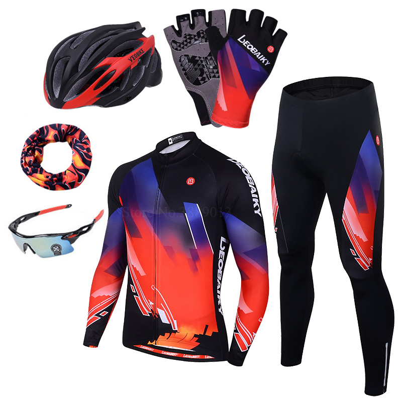 LEOBAIKY Brand Pro Team Cycling Jersey Set Men Autumn Long Sleeve Bicycle  Wear Padded MTB Bike Clothing Women Cycle Clothes 2018-in Cycling Sets from  Sports ... e2d07221b