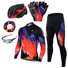 LEOBAIKY Brand Pro Team Cycling Jersey Set Men Autumn Long Sleeve Bicycle Wear Padded MTB Bike Clothing Women Cycle Clothes 2018 santic autumn winter women winter cycling set bicycle jacket padded pants pro team cycling clothing mtb bike long jersey set