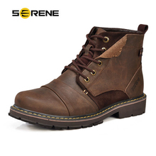 SERENE Warm Winter Male Leisure Martin Boots High Quality Leather Men Outdoor Work Shoes British style Snow Botas For Men 3166