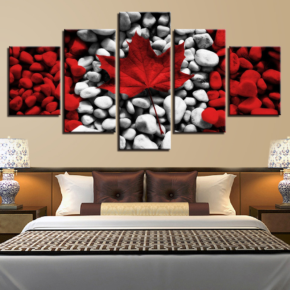 Canvas Wall Art Pictures HD Prints Living Room Home Decor 5 Pieces Canada Flag Paintings Framework Red Maple Leaf Stones Posters