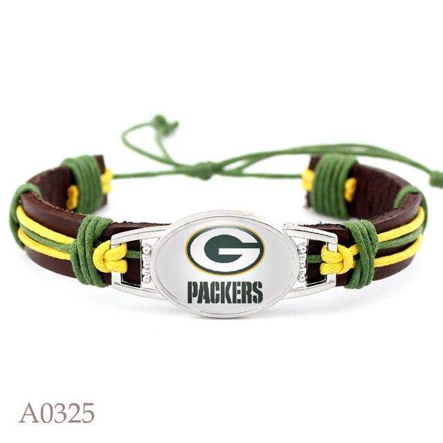 10 Pcs New Green Bay Packers Football Team Leather Bracelet Adjule Mens Black For