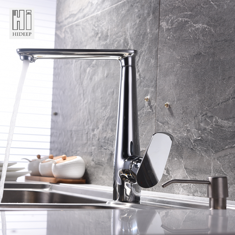 HIDEEP High Quality Brass Kitchen Faucet Spray Hot Cold Water Mixer Sink Faucet Rotary Tap Full Brass B Type