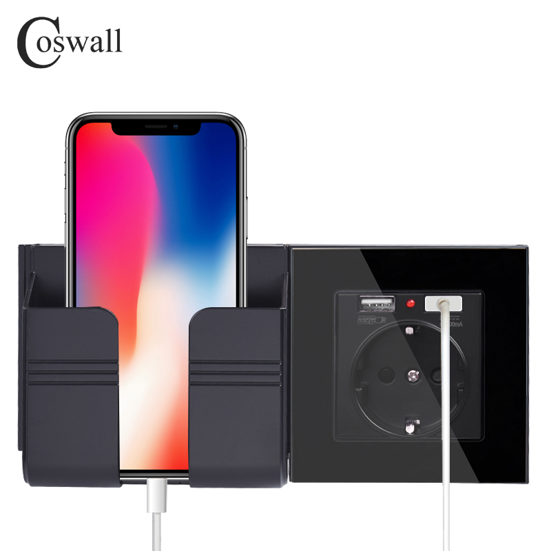 COSWALL Dual USB Charging Port 16A Wall EU Russia Socket Power Outlet Glass Panel PC Panel Black Color