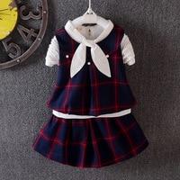 New Set Children S Clothes Spring Baby Set Plaid Cartoon Plaid Boy Girls Clothes College Wind