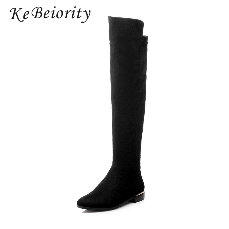 KEBEIORITY New Fashion Over the Knee Boots Women Black Long Boots Stretch Comfortable Low Heels Thigh High Boots with Zipper