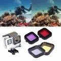 4 pçs/lote gopro filtro de lente profissional underwater sea diving filtro lens capa protetora para gopro hero 3 sj4000 câmera esporte
