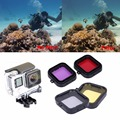 4pcs/lot GoPro Lens Filter Professional Underwater Sea Diving Lens Filter Protective Cover For Gopro Hero 3 Sj4000 Sport Camera