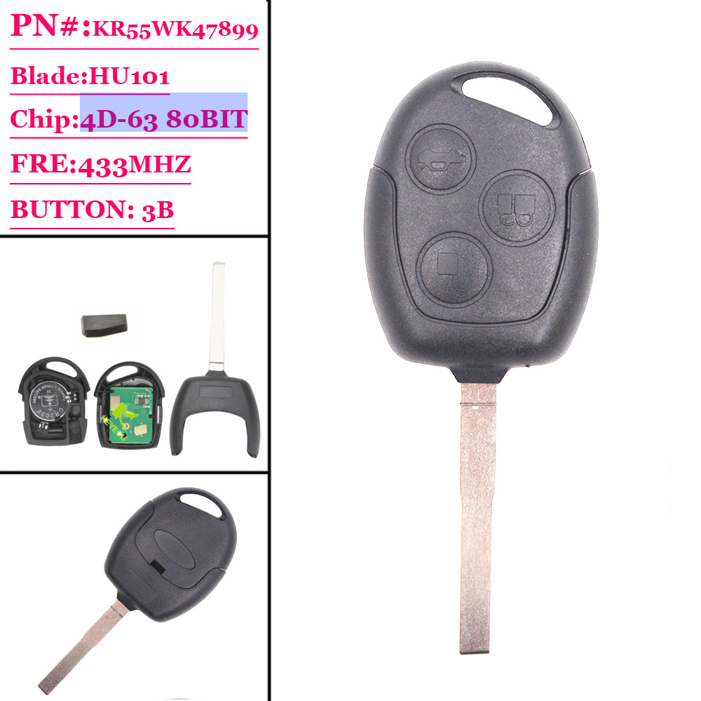 Free Shipping (1piece)3 Button Remote Key With 4d-63 80 Bit Chip Hu101 Blade For Ford  Focus