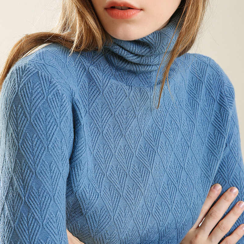 90d7bf4fddda84 Women's Turtleneck Cable Knit Diamond Knitted Pullover Turtleneck Geometric  Sweater Female Jumper Wool Blend Autumn Vintage