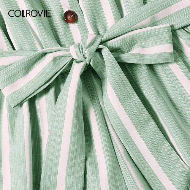 COLROVIE Plus Size Green Striped Ruffle Hem Spaghetti Strap Playsuits Women Summer Sleeveless Button Beach Wear Belted Romper 1