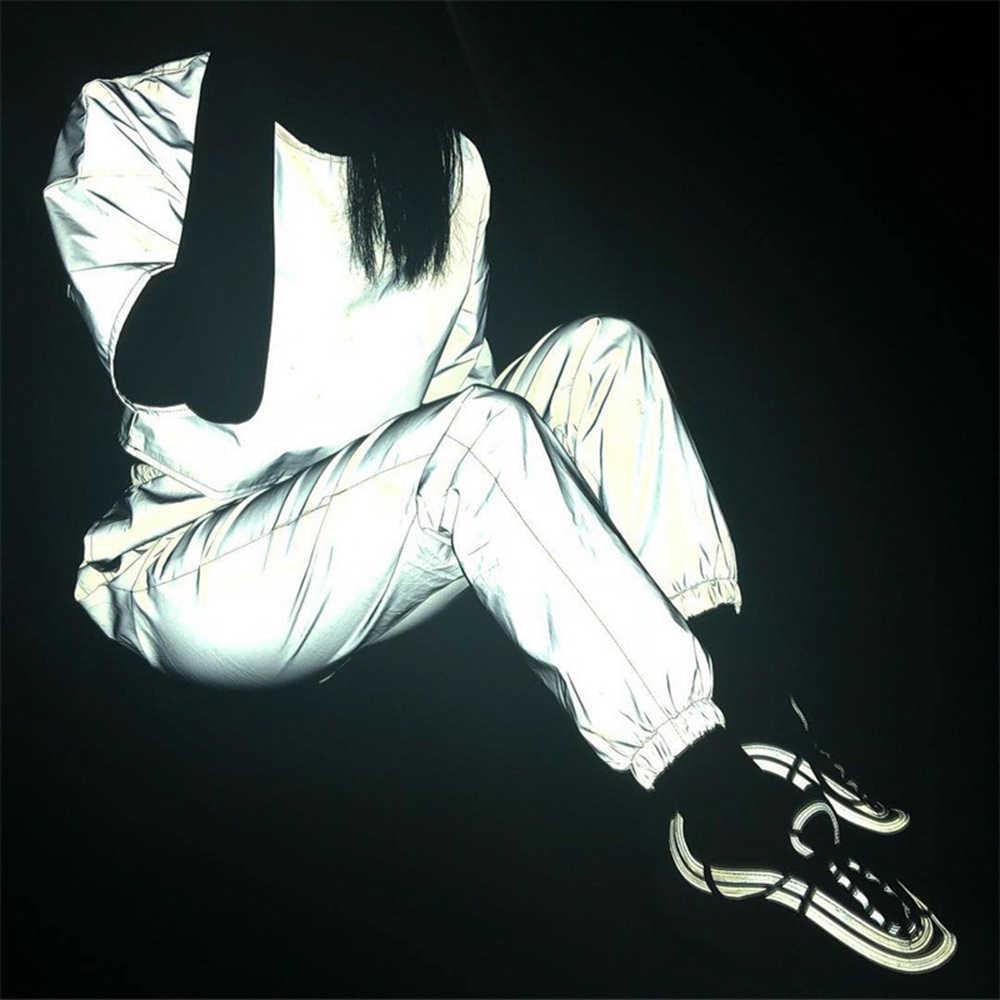2 pezzo delle Donne Riflettente Abiti Camicette Pantaloni Set Fresco Bling Luminoso Halter Fibbia Crea Magliette e camicette Cerniera Gonne Abiti Tuta