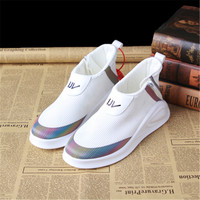 Brand Mixed Color black/white sneakers women Spring Summer zippers Breathable Casual White Shoes Heel 3 cm casual shoes women