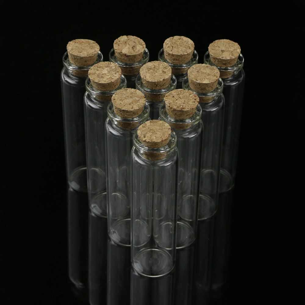 10 Pcs 20ml 22*80mm Empty Tiny Small Clear Cork Message Glass Bottles Vials N24 Drop Ship