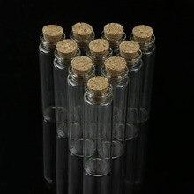 10 Pcs 20ml 22*80mm Empty Tiny Small Clear Cork Message Glass Bottles Vials N24 Drop Ship