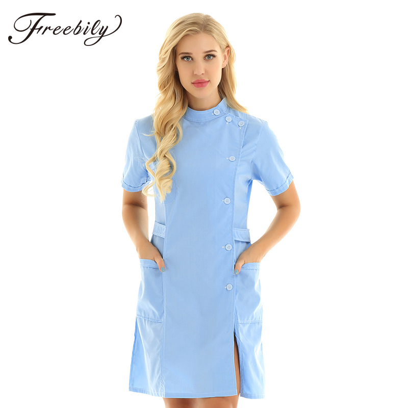 Uniform Medical-Coat White Hospital Fashion Women Blue Slim Pink And Stand-Collar Short-Sleeve