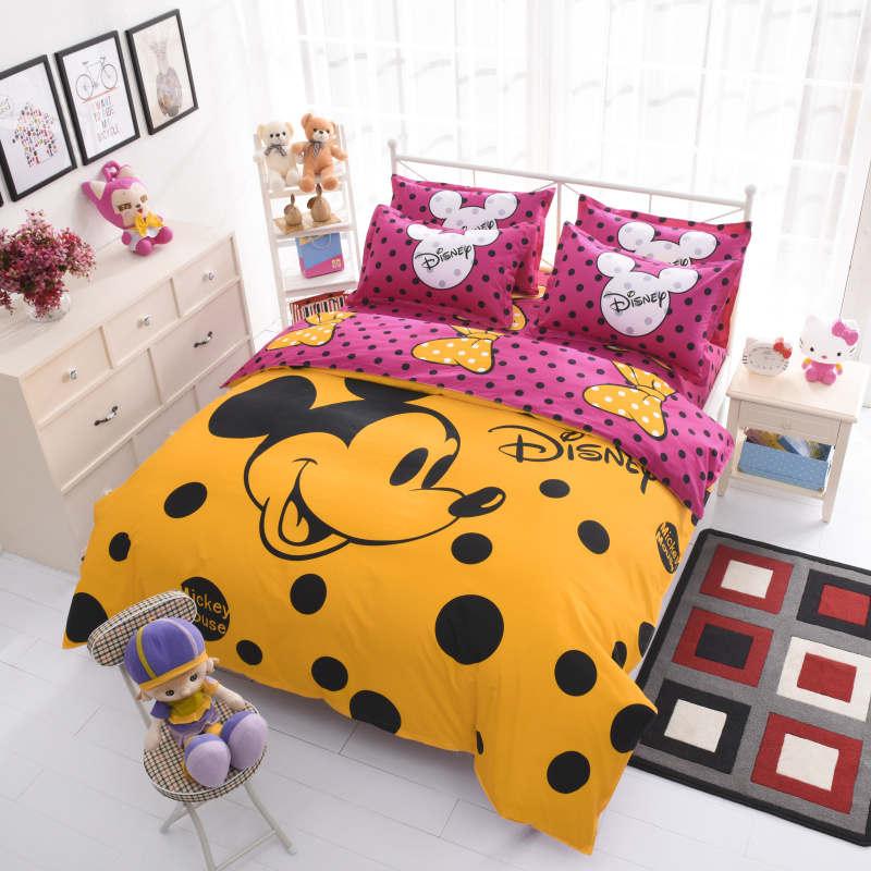 Polka Dot Mickey Mouse cama 4 Unid dibujos animados niña niños niño ...