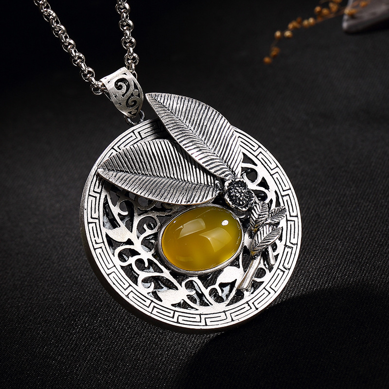 цены 2108 New silver S990 silver dollar Topaz Korean Edition hollowed out silver sterling sweater chain lady's pendant wholesale