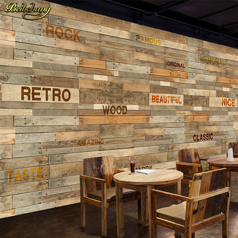 Beibehang Retro Imitation Wooden Stripes English Wallpapers Western Restaurant Casual Bar Cafe