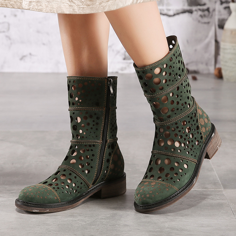 Fretwork Cool Fashion Booties For Women 2018 New Arrival Lady Mid Calf Boots Cut Out Block Heel Female Comfortable Green Shoes-in Ankle Boots from Shoes    1