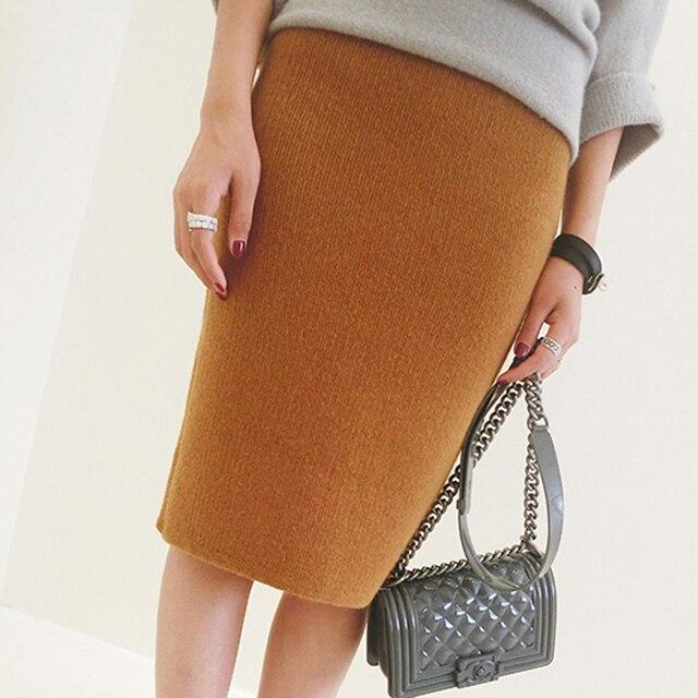 Bq92 das mulheres primavera outono e inverno coelho macio saias de cintura alta na altura do joelho de malha camisola 2016 frete grátis