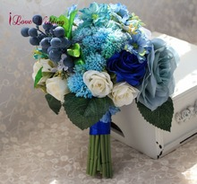 블루 인공 웨딩 부케 수제 신부 액세서리 아름다운 실크 꽃 신부 1 조각 무료 배송