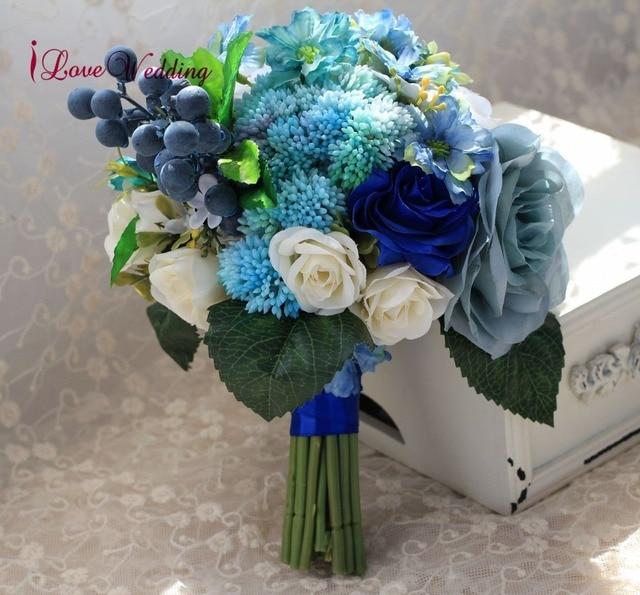 Buquê artificial de casamento, noiva azul, acessórios de noiva, flores de seda bonitas para noiva, 1 peça, frete grátis