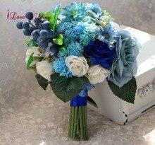 Niebieskie sztuczne bukiety ślubne Handmade akcesoria dla nowożeńców piękny jedwab kwiaty dla panny młodej 1 sztuka darmowa wysyłka