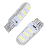 Wholesales 100pcs Car LED T10 W5W 6SMD 5730 Led Bulb Canbus Silicone Dome Light No Error Parking License Plate Bamp Car Styling 2