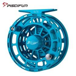 Piscifun Platte Blue Fly Fishing Reel 3/4 5/6 7/8 9/10 WT CNC maszyna Cut Fishing Reel duża Arbor aluminium Fly Reel