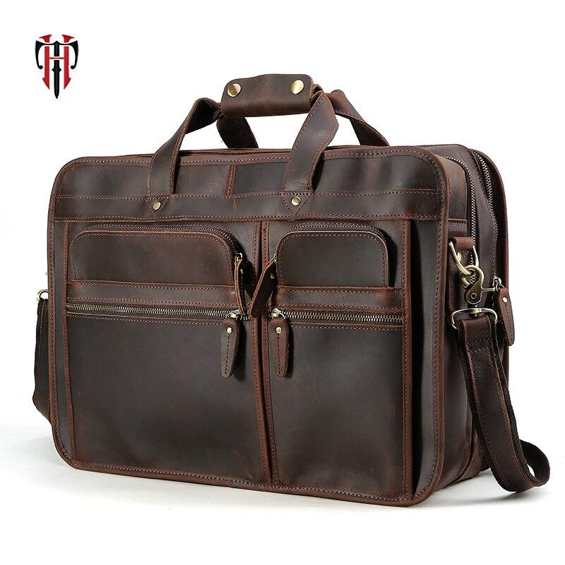 купить TIANHOO 17 inch laptop man bags Genuine leather big shoulder bag & vintage style crazy horse leather bags for travel по цене 15468.75 рублей