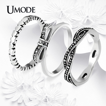 UMODE New Arrival Vintage Stackable Ring Antique Silver Plated Rhinestones Wedding Band Rings Set For Women Jewelry AUR0237