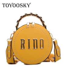 TOYOOSKY Fashion Round Handbag Women Rivet Lady Shoulder Messenger Bag Luxury Designer Leather Circle