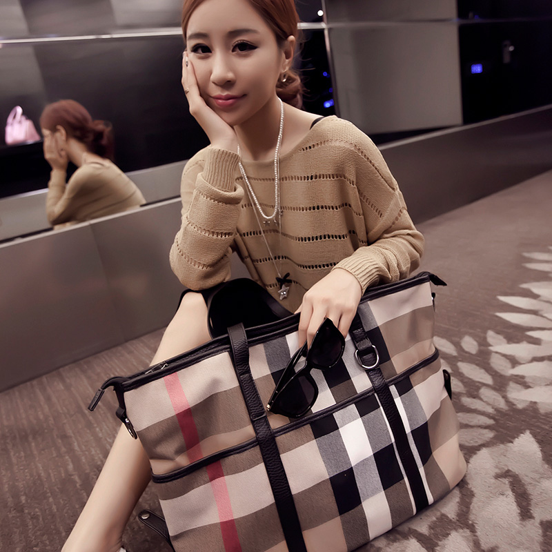 ФОТО 2016 bags plaid big bag women's handbag canvas handbag one shoulder cross-body bags large capacity